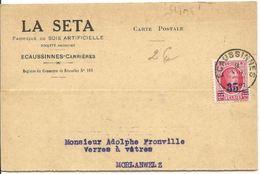 Carte Postale Fabrique De Soie Artificielle Ecaussines Carrières - Morlanwwelz /Albert 1er Surchargé 35c Sur 40c 1928 - 1922-1927 Houyoux