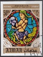 779 Ajman 1971 Segni Zodiaco Acquario Aquarius - Stained Glass Window Vetrata Notre Dame Imperf. Zodiac - Astrologia