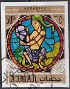 779 Ajman 1971 Segni Zodiaco Acquario Aquarius - Stained Glass Window Vetrata Notre Dame Imperf. Zodiac - Vetri & Vetrate