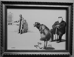 LITHOGRAPHIE- DESSIN   De Claude SERRE - MEDECINE *   CHEZ  L' OPHTALMOLOGUE   * Humour Noir Et Hommes En Blanc   *  1 - Lithographies