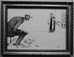 LITHOGRAPHIE- DESSIN   De Claude SERRE - MEDECINE *   CHEZ  L' OPHTALMOLOGUE   * Humour Noir Et Hommes En Blanc   *  2 - Lithographies