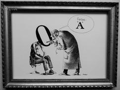 """LITHOGRAPHIE- DESSIN   De Claude SERRE - MEDECINE """"  L'OTO RHINO LARYNGOLOGISTE """" Humour Noir Et Hommes En Blanc   *  1 - Lithographies"""