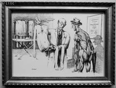"""LITHOGRAPHIE- DESSIN   De Claude SERRE - MEDECINE """"  LE  DERMATOLOGUE   """" Humour Noir Et Hommes En Blanc   *  1 - Lithographies"""