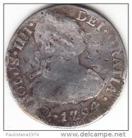 ESPAÑA 1794  CARLOS IV. 2 REALES DE PLATA.CECA MEXICO. ENSAYADOR F.M.  MBC- CN4436 - [ 1] …-1931 : Royaume
