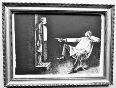 """LITHOGRAPHIE- DESSIN   De Claude SERRE - MEDECINE """"  A LA RADIOGRAPHIE  1   """" Humour Noir Et Hommes En Blanc   * - Lithographies"""