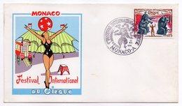 Monaco-1974--1 Er Festival International Du CIRQUE--tp éléphant Sur Enveloppe Illustrée-cachet Commémoratif (clown) - Mónaco
