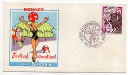 Monaco-1974--1er Festival International Du CIRQUE--tp Chevaux Sur Enveloppe Illustrée-cachet Commémoratif (clown) - Mónaco