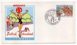 Monaco-1974--1er Festival International Du CIRQUE--tp Tigres Sur Enveloppe Illustrée-cachet Commémoratif (clown) - Mónaco