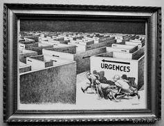 """LITHOGRAPHIE- DESSIN   De Claude SERRE - MEDECINE """"    LES  URGENCES ...S.V..P.     """" Humour Noir Et Hommes En Blanc   * - Lithographies"""