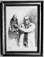 """LITHOGRAPHIE- DESSIN   De Claude SERRE - MEDECINE """"   PROFESSEUR  ET  SON  CLONE    """" Humour Noir Et Hommes En Blanc   * - Lithographies"""