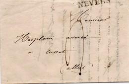 Lettre Avec Correspondance De 1826 Marquage Linéaire Nevers à Cussat - Marcophilie (Lettres)