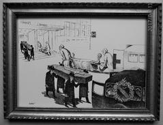 """LITHOGRAPHIE- DESSIN   De Claude SERRE - MEDECINE """" HOPITAL   = CHASSé  CROISé    """" Humour Noir Et Hommes En Blanc   * - Lithographies"""