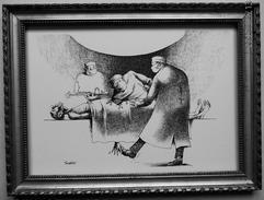"""LITHOGRAPHIE- DESSIN   De Claude SERRE - MEDECINE """" CHIRURGIE..  TU VAS TROP LOIN   """" Humour Noir Et Hommes En Blanc   * - Lithographies"""