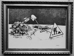 """LITHOGRAPHIE- DESSIN   De Claude SERRE - MEDECINE """" ORGANES  A  LA  PELLE """" Humour Noir Et Hommes En Blanc   * - Lithographies"""