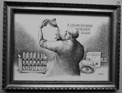 """LITHOGRAPHIE- DESSIN   De Claude SERRE - MEDECINE """" LABORATOIRE D'ANALYSES  """" Humour Noir Et Hommes En Blanc   * - Lithographies"""