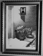 """LITHOGRAPHIE- DESSIN   De Claude SERRE - MEDECINE """" ATTENTION......HOPITAL  """" Humour Noir Et Hommes En Blanc   * - Lithographies"""