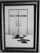 """LITHOGRAPHIE- DESSIN   De Claude SERRE - MEDECINE """" BLOC ATTENTION...SOL GLISSANT  """" Humour Noir Et Hommes En Blanc   * - Lithographies"""