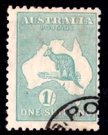 Australia 1929 Kangaroo 1S  Blue-Green Small Multiple Watermark CTO - 1913-48 Kangaroos