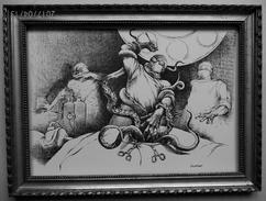 """LITHOGRAPHIE- DESSIN   De Claude SERRE - MEDECINE """" CHIRURGIE  ALERTE ALIEN ......  """" Humour Noir Et Hommes En Blanc   * - Lithographies"""