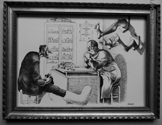 """LITHOGRAPHIE- DESSIN   De Claude SERRE - MEDECINE """" CHIRURGIE  ORTHOPEDIQUE ..2..  """" Humour Noir Et Hommes En Blanc   * - Lithographies"""