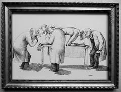 """LITHOGRAPHIE- DESSIN   De Claude SERRE - MEDECINS """" DONT......... LE PROCTOLOGUE   """" Humour Noir Et Hommes En Blanc   * - Lithographies"""