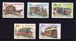 New Zealand 1985 Vintage Trams 5 Values Used - New Zealand