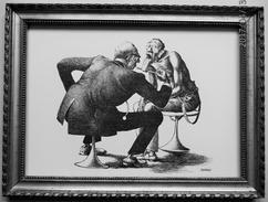 """LITHOGRAPHIE- DESSIN   De Claude SERRE - MEDECINE GENERALISTE  TIREZ  LA  LANGUE """"  """" Humour Noir Et Hommes En Blanc   * - Lithographies"""