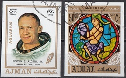 779 Ajman 1971 Buzz Edwin Aldrin Apollo 11 - Zodiaco Acquario Aquarius - Stainled Glass Window Vetrata Notre Dame - Astrologia