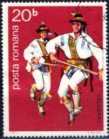 ROMANIA - 1977 - FOLCLORE: DANZE POPOLARI MASCHILI - USATO - Oblitérés