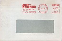 "Lettre De 06 Nice RP. Guichet AN.1 25.4.80 EMA Rouge "" AIR FRANCE Service Administratif Aéroport Nice Cote D'Azur "" - EMA ( Maquina De Huellas A Franquear)"