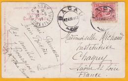 1911 CP De Bacau, Moldavie, Roumanie Vers Chagny, France - Timbre 10 Bani  - Vue Portrait  En Pied Romantique - 1881-1918: Charles I