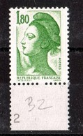 1985 - Variété - Absence De Perforation (Blind Zahn) - N° 2375 - Neuf ** - Type Liberté - Abarten Und Kuriositäten
