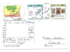 Lot De 3 Timbres SAINT MARIN  San Marino Sur Carte Postale - Covers & Documents