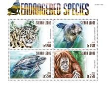 SIERRA LEONE 2015 SHEET ENDANGERED SPECIES SEALS MONKEYS TURTLES FELINES WILDLIFE TORTUES PHOQUES FELINS Srl15306a - Sierra Leone (1961-...)