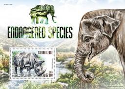 SIERRA LEONE 2015 SHEET ENDANGERED SPECIES RHINOS RHINOCEROSES ELEPHANTS ELEFANTEN ELEFANTI ELEFANTES WILDLIFE Srl15306b - Sierra Leone (1961-...)