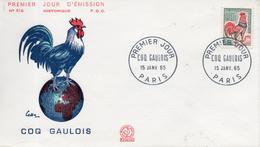 France. Enveloppe Fdc. Coq Gaulois. Paris. 15/1/1965 - 1960-1969
