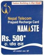 GSM MOBILE PHONE PREPAID USED MINI RECHARGE CARD Rs.500 NEPAL TELECOM 2012 NEPAL - Nepal