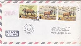 LETTRE Par Avion   DU MALI    Vers FRANCE  (timbre ANIMAUX) - Mali (1959-...)