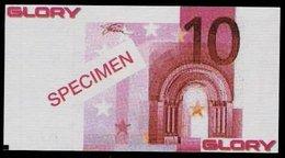 """Test Note """"GLORY""""  Typ A, 10 EURO, Testnote, Beids. Druck, RRR, UNC, Mit SPECIMEN - EURO"""