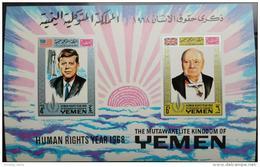 V25 Kingdom Of Yemen 1968 HUMAN RIGHTS S/S - President Kennedy & President Churchill - Yemen