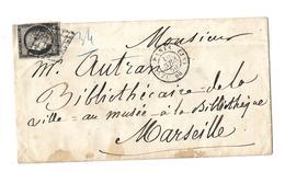 1850 YT 3 A 20 Ct Noir Sur Blanc Oblit Grille CAD Bureau Supplémentaire De Quartier Paris JS 60  15 4 50 - Postmark Collection (Covers)