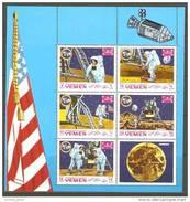 V25 Metewakilite Kingdom Yemen 1969 Apollo -Mond-Raum Kleinbogen Gezähnt Postfrisch - Apollo Moon Space M/S Perf MNH - Yemen