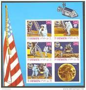 V25 Metewakilite Kingdom Yemen 1969 Apollo - Moon Space M/S S/S Imperforated MNH - Yemen