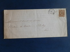 EMPIRE NON DENTELE 14 SUR LETTRE DE LYON A BELLEY DU 6 JUIN 1860 (PETIT CHIFFRE 1818) - Postmark Collection (Covers)