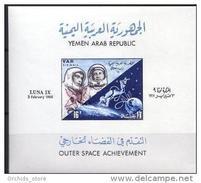V25 - Yemen AR 1966 Mi. Block 49 MNH S/S Soviet Space Exploration LUNA IX - Yemen