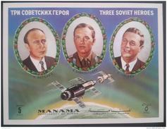 V25 - Ajman MANAMA 1972 Mi. Block 202 S/S MNH, Soviet Heroes Astronauts Space Exploration - Manama
