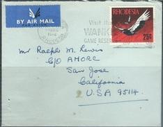 Rhodesia   1970  Sc#290   25c Eagles  On Cover - Rhodesia (1964-1980)