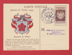 Journée Du Timbre / Lyon  / 9/12/1944 - Cartes-Maximum