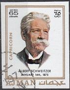781 Ajman 1971 Albert Schweitzer Premio Nobel  Per La PACE - Zodiaco Capricorno Capricorn -  Imperf. Zodiac - Astrologia