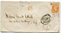 PARIS Env. Pour La SUISSE Du 15/08/1860 Avec N°16 Oblitéré Roulette De Points + Cachet PD - 1849-1876: Classic Period